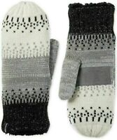 ISOTONER Signature Women's Warm Lined Acrylic Knit Mittens One Size Black Grey