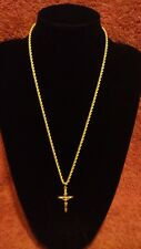 """UNISEX 9CT 375 SOLID YELLOW GOLD CRUCIFIX CROSS & 24"""" ROPE CHAIN NECKLACE BOXED*"""