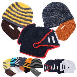 Men Winter Beanie Hats Knitted With Detachable Beard Novelty Beard Hat Face Mask