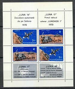 Romania 1971 MNH Mi Block 82 Sc C181-C182 Luna 16/17 unmanned,moon mission **