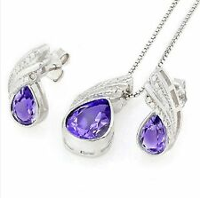 AMETHYST DIAMOND & STERLING SILVER NECKLACE EARRING SET 1.79 CT DAY FREE CHAIN!