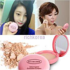 Rivecowe Makeup CC Powder Pact Sebum Control Convenient Compact Foundation korea