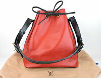 AUTHENTIC LOUIS VUITTON PETIT NOE RED BLACK EPI LEATHER DRAWSTRING SHOULDER BAG