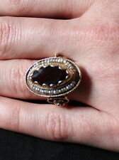 STUNNING VINTAGE GARNET, PEARL,14 KT GOLD MARQUIS-SHAPED COCKTAIL RING SIZE 10