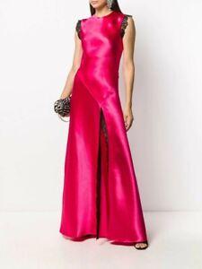 New Philosophy Lorenzo Serafini Crepe Satin Fuchsia Sleeveless Maxi Dress US 8