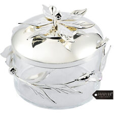 Matashi Silver Plated Sugar, Honey & Candy Dish Glass Bowl with Spoon For Gift