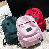 Women's Men Student Backpack Shoulder Handbag Corduroy Vintage School Travel Bag