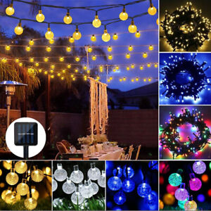 Solar String Lights Retro Ball Outdoor Garden LED Festoon Party Globe Bulb Lamp