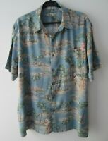 "Vintage Auth Batik Bay Blue Tropical Hawaiian Shirt 51""-129.5cm X/L (921H)"