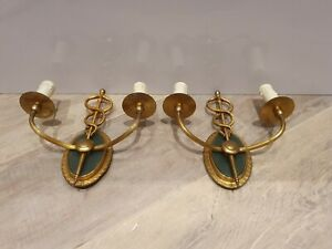 Antique French metal brass crossed snake animal figurine Wall lights sconces