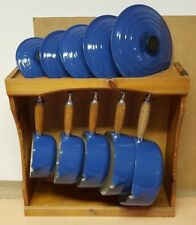 LE CREUSET CAST IRON BLUE SAUCEPAN SET WITH STAND PANS