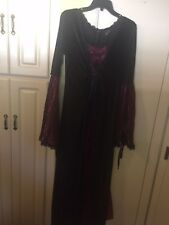 Sinister Dress XL Purple Black Velvet Bell Sleeves Renaissance Gothic Ren Goth