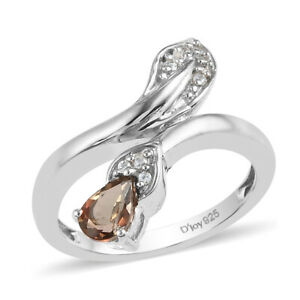 925 Sterling Silver Andalusite Cubic Zirconia CZ Bypass Ring Gift Size 6 Ct 0.5