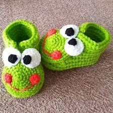 Crochet newborn baby booties Frog