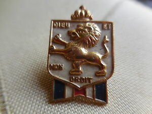 """Vintage brass pin""""Diem Et Mon Droit""""Official B.W.R.S. and B.B.-Free shipping"""