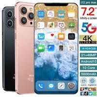"7.2"" i12 Pro max Face ID Fingerprint 4+64GB Smartphone Android10 5600mah Phone"