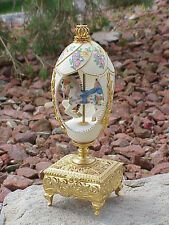 Real Decorated Carved Goose Egg Horse Carousel Collectible Decoration