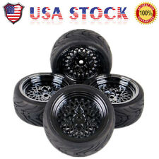 4X 1:10 Rubber Tires & Wheel For RC 1/10 Scale On-Road Racing Car 10362 HSP HPI