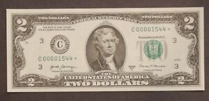 2017 A  UNCirculated 2$ Dollar STAR note ULTRA LOW SN# C 00001544 *
