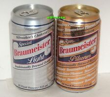 BRAUMEISTER SPECIAL SILVER LIGHT+GOLD PILSNER BEER CANS HUBER MONROE,WISCONSIN