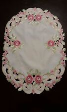 """2pcs 13x19""""Embroidered Placemat  Pink French Roses Table Topper Home Party Decor"""