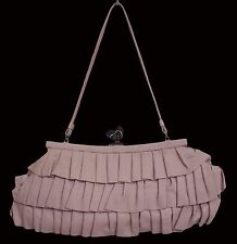 SAMANTHA THAVASA Ruffle Clutch Leather Pale Pink