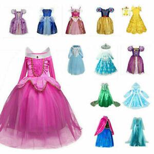 Kinder Mädchen Prinzessin Kleid Cosplay Kostüm Elsa Aurora Anna Cosplay Party