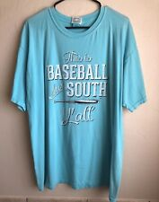 Gently Preowned This Is Baseball Down South Y'all Light Blue T-Shirt 2Xl