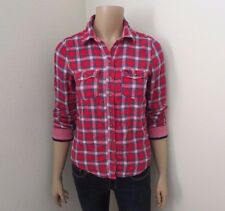 Abercrombie Womens Plaid Flannel Button Down Shirt Size Small Top Blouse Red