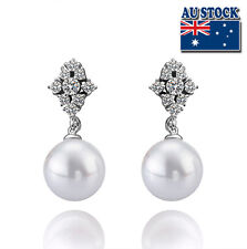 18K White Gold Filled Earrings With Big Pearl And SWAROVSKI Crystal