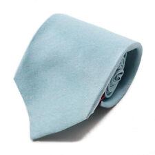 New $230 ISAIA NAPOLI 7-Fold Sky Blue Melange Twill Silk Tie
