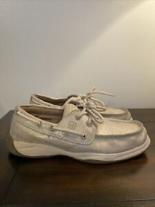 🎼Sperry Top-Sider Girls Shoes Size 2 Youth Intrepid Glitter-Beige