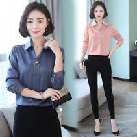 Women Lapel Loose Shirt Shift Career OL Work Business Office Tops Ladies Blouse