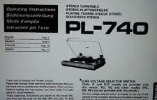 manuale utente piatto giradischi PL-740 hifi stereo pioneer carta formato a4