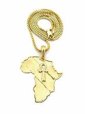 MENS HIP HOP AFRICA MAP ANKH CROSS EGYPTIAN PENDANT BOX CHAIN NECKLACE