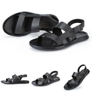 Mens Black Roman Slingbacks Sandals Shoes Open Toe Walking Buckle Outdoor Sandal