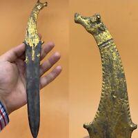 WONDERFUL ROMAN ERA BRONZE MILITARY SHORT SWORD WITH GOLD GILDING 2000BC
