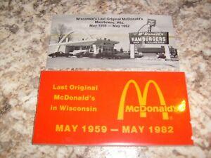"1959-82 McDONALD COLLECTABLE TILE "" WISCONSINS LAST ORIGINAL McDONALDS""MANITOWOC"
