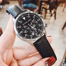 Brand New Michael Kors Gage Chronograph Black Dial Leather Men's Watch MK8442