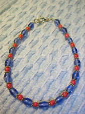 10 1/4 inch Blue and Red Glass Bead Ankle Bracelet w/ Gold Spacers E-11