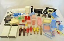 Lot Vintage 1950's Plastic Dollhouse Furniture + Figures Renewal Plasco Ideal