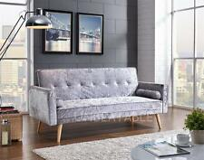 Crushed Velvet Fabric 3 Seater Padded Sofabed Suite With 2 Cushions Modern New