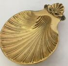 Vintage Brass Sea Shell Footed Tray Trinket Coin Soap Dish Ash Decor Beach House