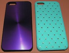 Lot of 2 Hard Shell Plastic cases iPhone 5/5s/SE, 1 Turquoise Bling, 1 Purple