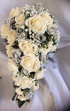 *NEW* Wedding Flowers Bride's Shower Bouquet Package Grey & Cream with Gyp