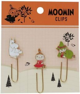 Moomin Valley metal charm paper clips bookmark index set of 3 Snufkin Little My