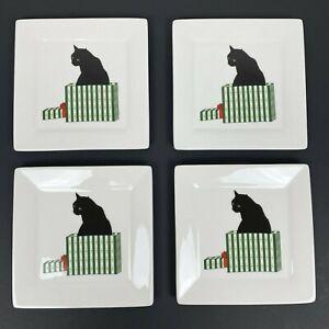 "Sue Boettcher Set of 4 Black Cat Gift Box 5 7/8"" Square Plate Cadeau Christmas"