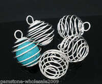 20PCS Wholesale Lots Silver Plated Spiral Bead Cages Pendants 29x24mm ##