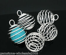 20PCS Wholesale Lots Silver Plated Spiral Bead Cages Pendants 29x24mm GW