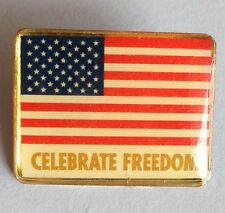 Celebrate Freedom American Flag USA Pin Badge Vintage Rare (D5)